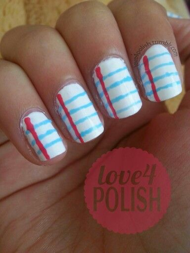 Back to school nail art: Lined Paper! This design is so ...
