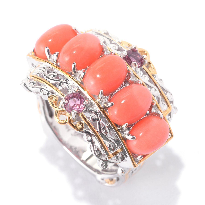 141 652  Gems En Vogue Oval Bamboo Coral & Pink