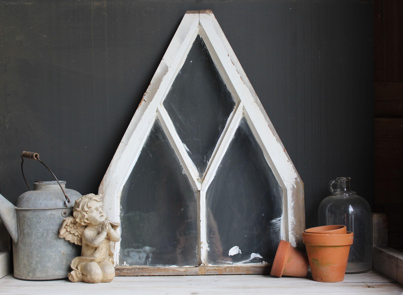 Antique Gothic Window Vintage Church Window Triangle Window Architectural Element For Your Victorian Or Farmhouse Faux Window Farmhouse Decor Window Frame
