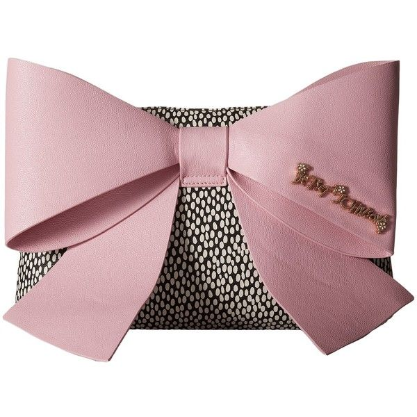 Betsey Johnson Big Bow Chic Large Bow Clutch (Blush) (€79) ❤ liked on Polyvore featuring bags, handbags, clutches, zipper purse, chain handle handbags, chain strap purse, betsey johnson purses and pink bow purse