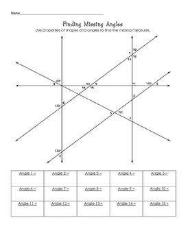 Finding Missing Angle Measures Challenge Angles Worksheet