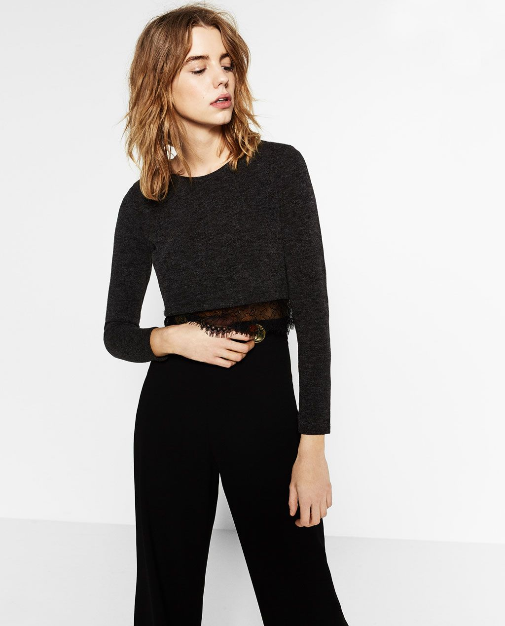 CROPPED SWEATER WITH BLONDE-LACE HEM - Available in more colours ...