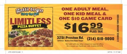 Gattitown Coupon Kids Meals Pizza Buffet Pop Tarts