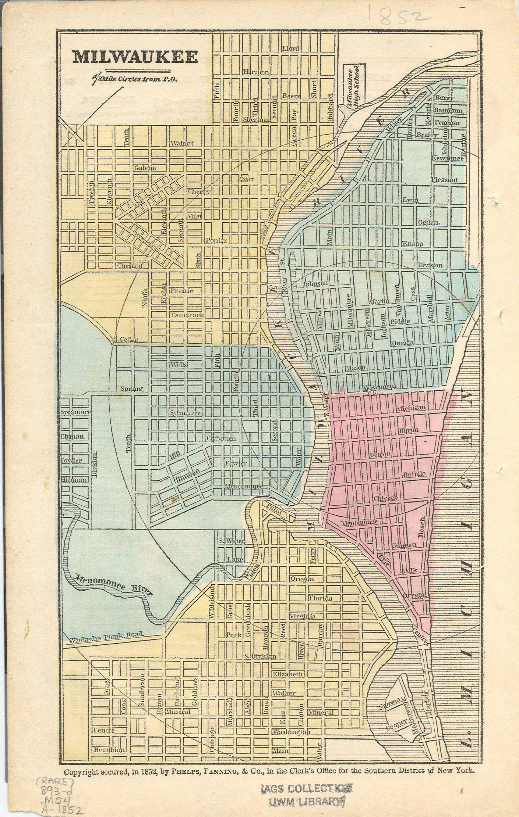 Map Of Milwaukee Wi 1852 Milwaukee Map Milwaukee Milwaukee Wi