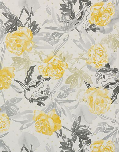 Golden Yellow And Grey Floral Wallpaper A Fluid Hand Painted Watercolour Style Design Featuring Charming Spray Of Leaves