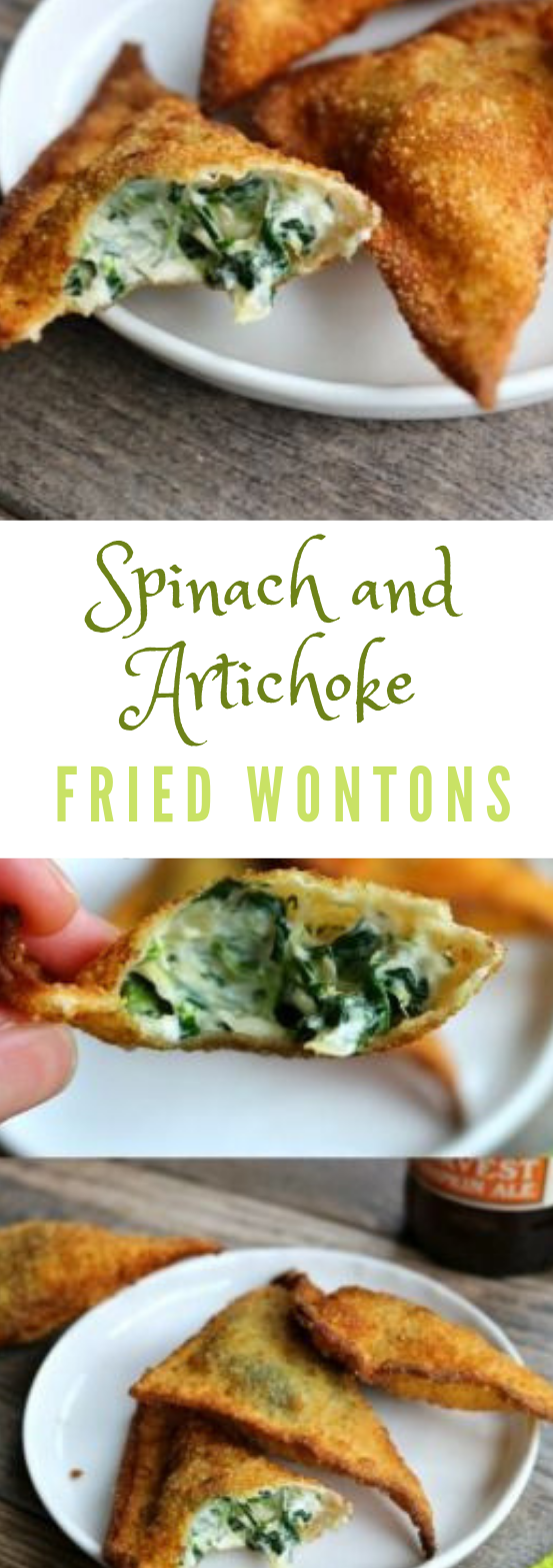 Spinach and Artichoke Fried Wontons #vegetarian #spinach #crockpotspinachandartichokedip