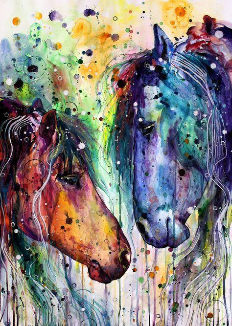 Bunte Pferde Tiere Malen Pferde Malen Pferde Zeichnen