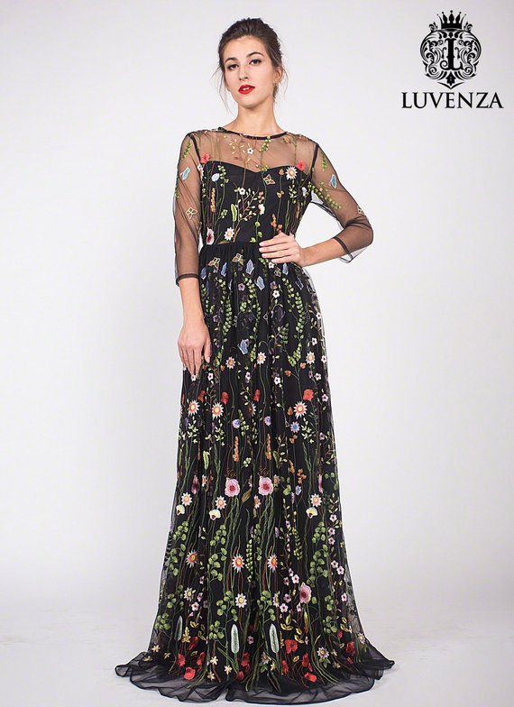 4bbd008c348d4 Three Quarter Sleeve Floral Embroidered Tulle Evening Gown - Black Floral  Lace Prom Dress-Embroidere