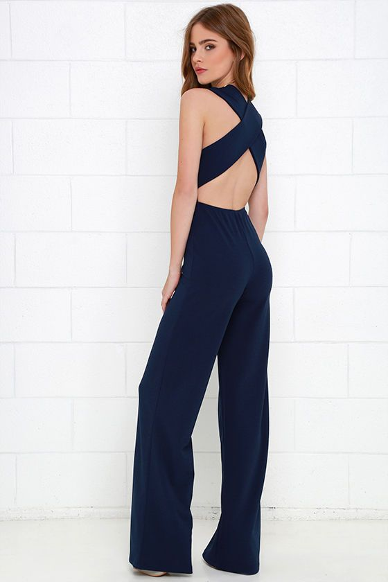 b7ad9184e4e1 Cat s Meow Navy Blue Jumpsuit at Lulus.com!