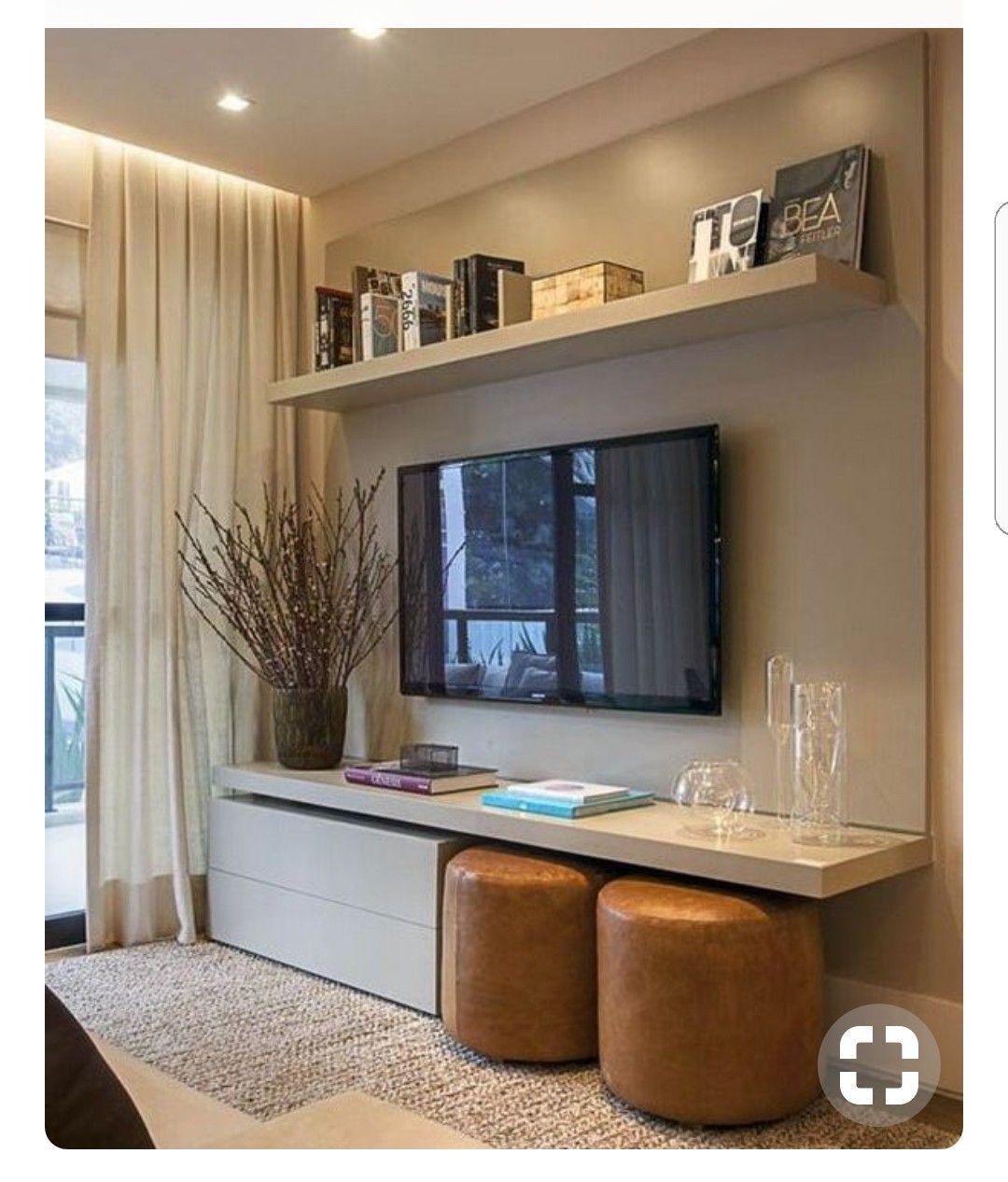 Movel Para Tv Puffs E Armario Baixo Com Rodinhas Small Living Rooms Home And Living Home Living Room #puffs #for #living #room
