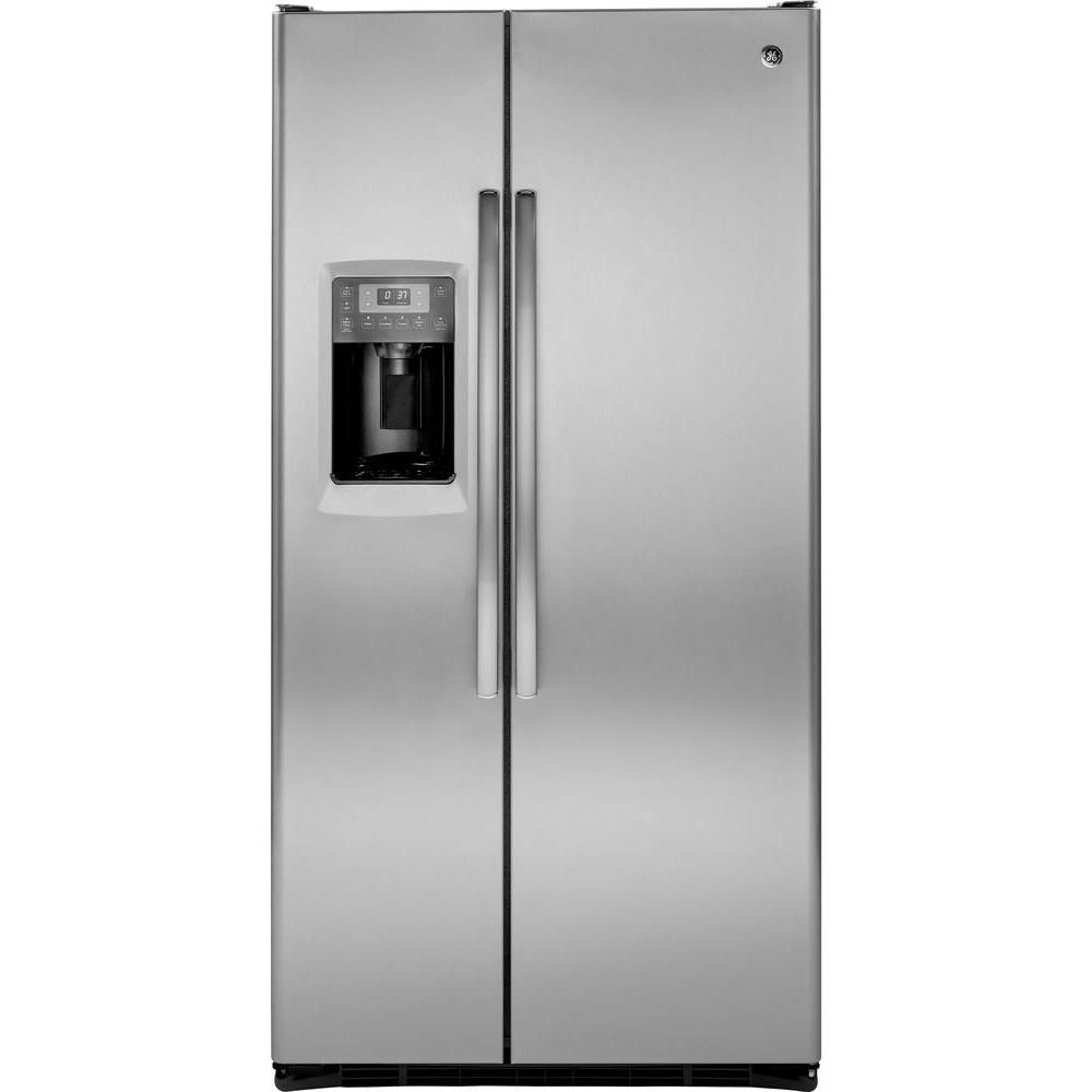 Ge Profile 24 6 Cu Ft Side By Side Refrigerator In Stainless Steel Counter Depth Pzs25ksess The Home Depot Side By Side Refrigerator Stainless Steel Counters Largest Counter Depth Refrigerator