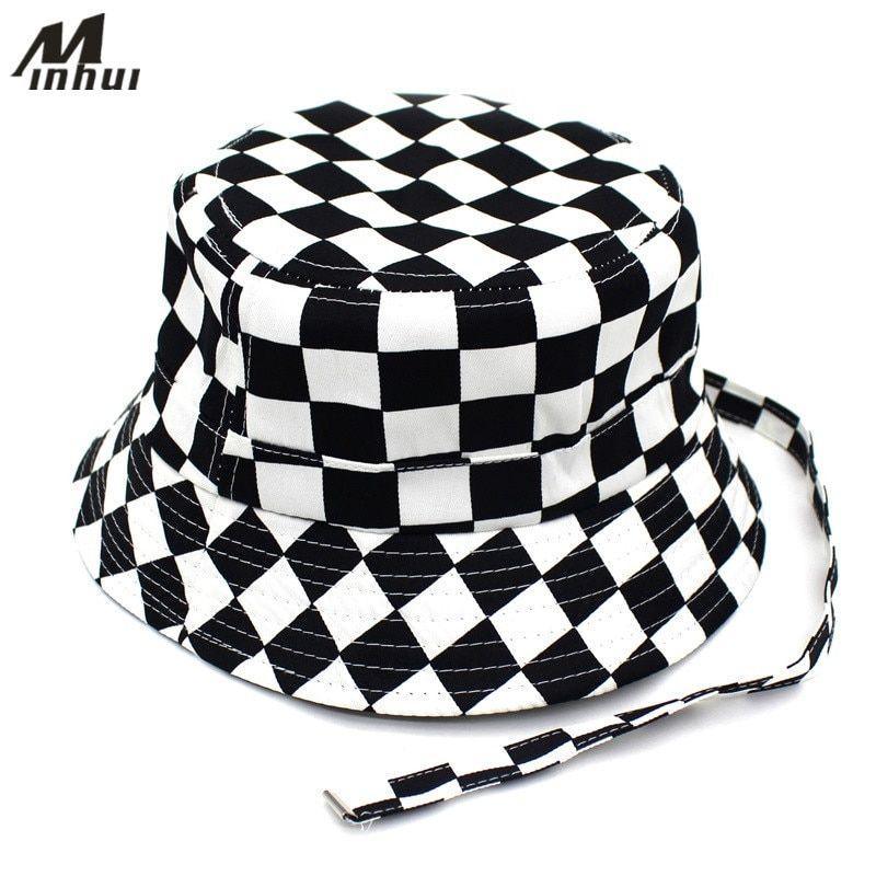 587792ff7 2019 的 Minhui 2018 New Black White Plaid Bucket Hats for Men Flat ...