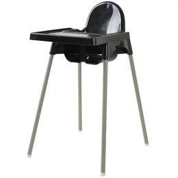 Højstol Med monterbar bordplade, farve sort.