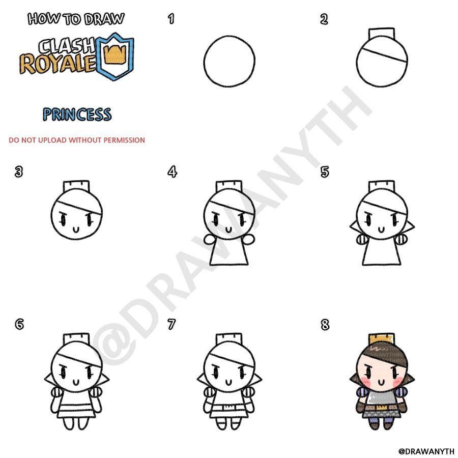 How To Draw Princess Clashroyale Princess Drawings Clash Royale Drawings Easy Drawing Steps