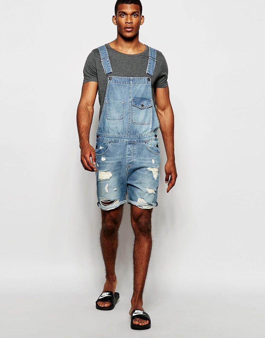 5e924af9e234 Denim dungaree shorts for men Denim Dungaree Shorts