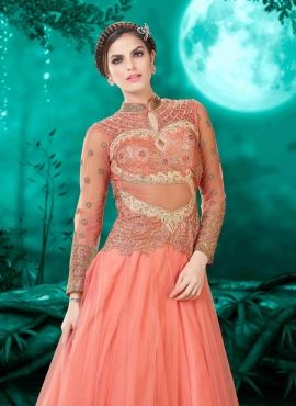 754044782396 Peach designer Indian evening gown with dupatta | lastest GOWN ...