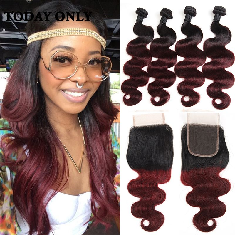 10a Ombre Virgin Brazilian Hair Weave Bundles With Lace Closure 1b