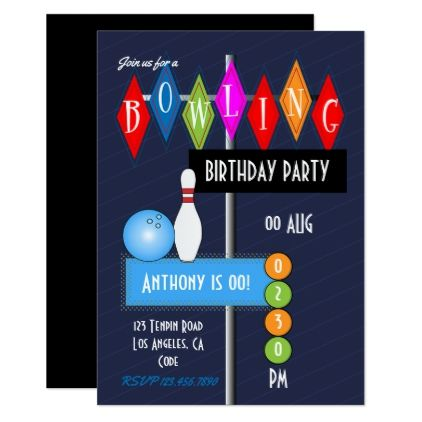 Retro Bowling Birthday Party invitations - birthday invitations - bowling invitation