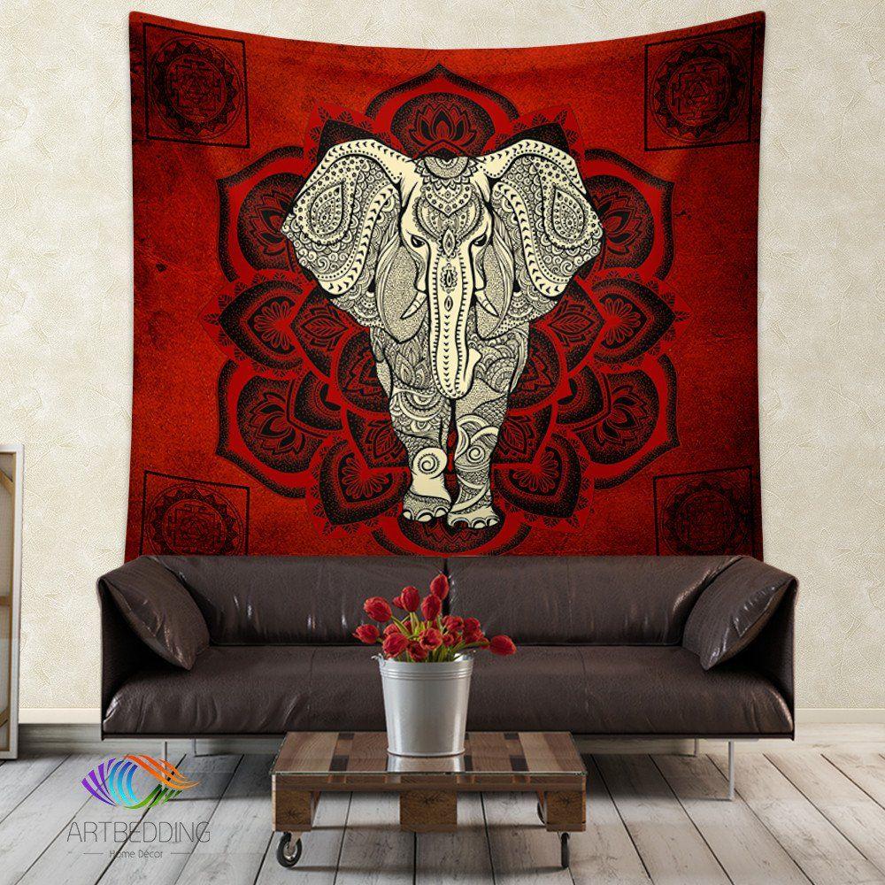 Elephant Tapestry, Mandala wall tapestry, Hippie tapestry ...