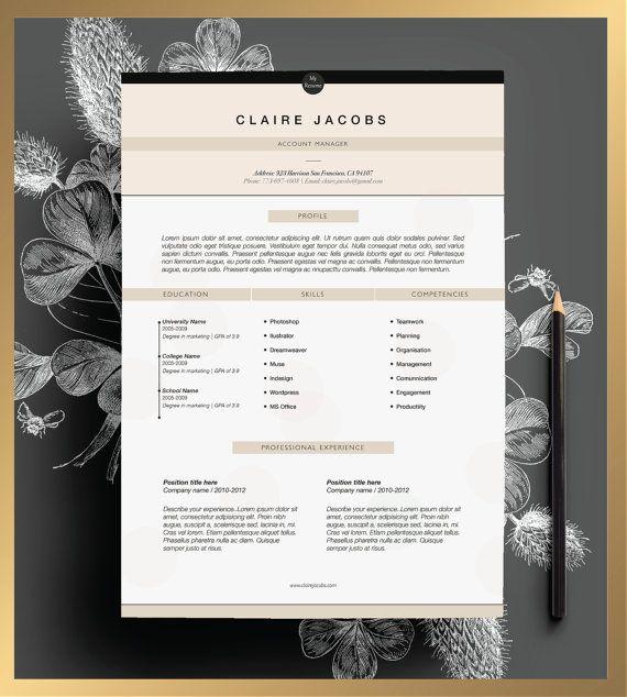 Eleganter Lebenslauf Vorlage. 2 Seiten Lebenslauf + Anschreiben + 1 ...