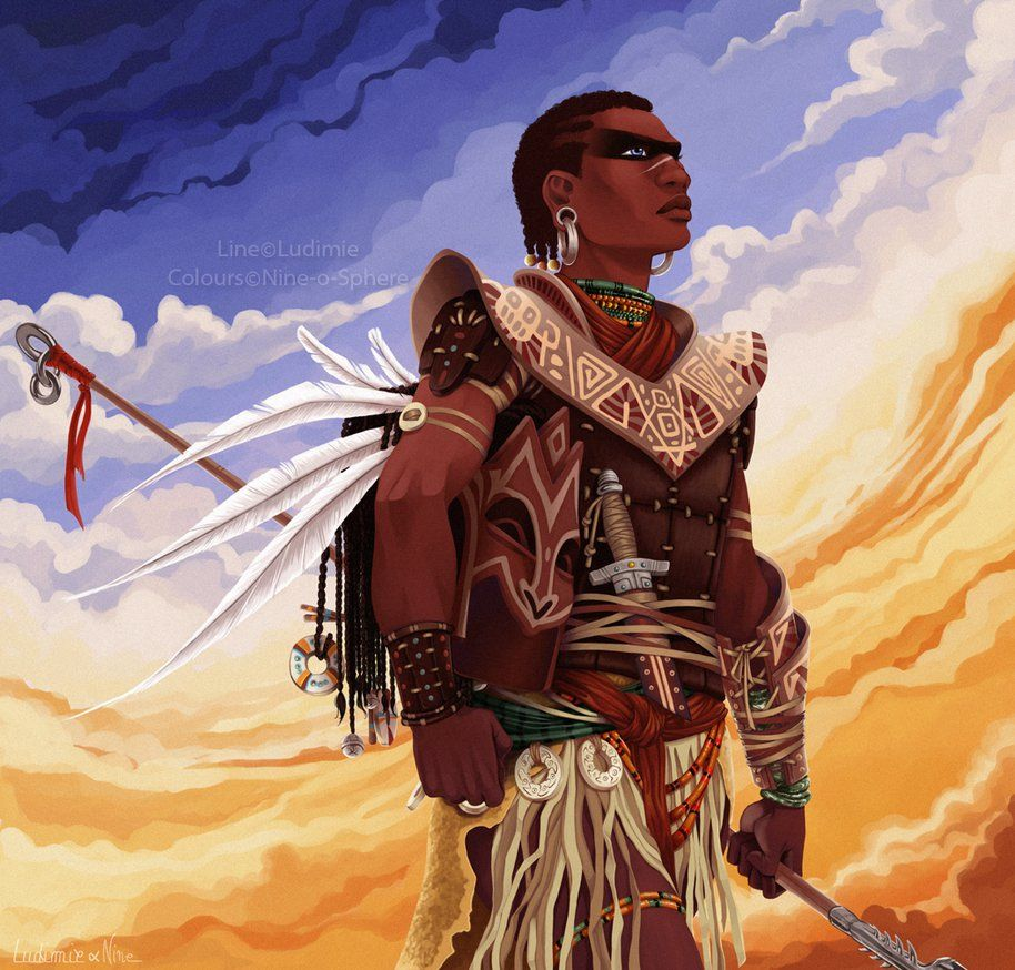 African warrior by ludinine warriors illustration afro