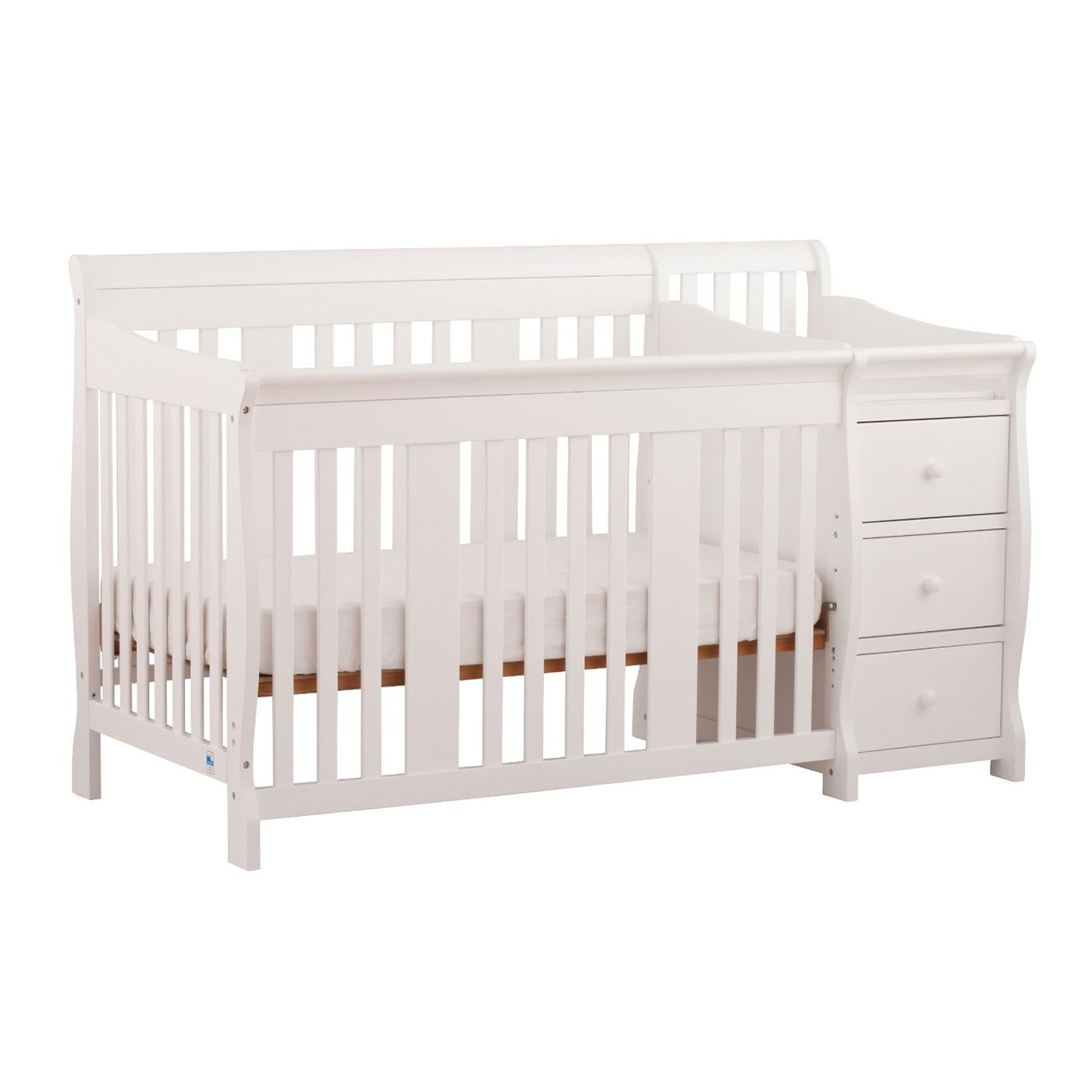 Storkcraft Portofino 4 In 1 Fixed Side Convertible Crib Changer In White Crib With Changing Table Convertible Crib Cribs [ 1400 x 1400 Pixel ]
