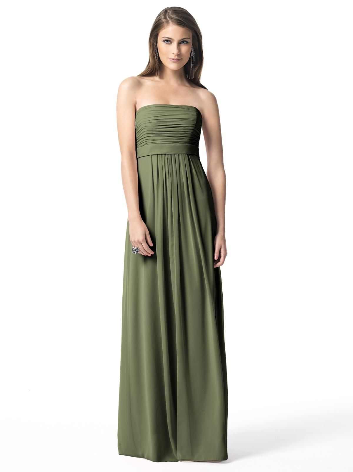 Green dress for wedding  Moss green strapless dress from Dessy This in a deeper mossy green