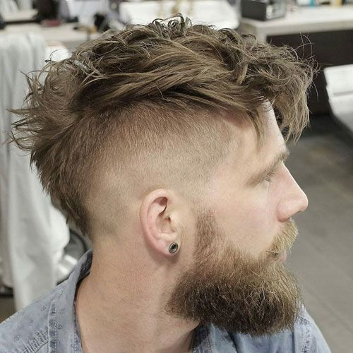 Undercut With Messy Faux Hawk And Beard High Fade Haircut Mohawk Hairstyles Men Mens Hairstyles Short