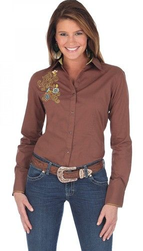 994cd49490f Womens Wrangler Brown Long Sleeve Snap Shirt