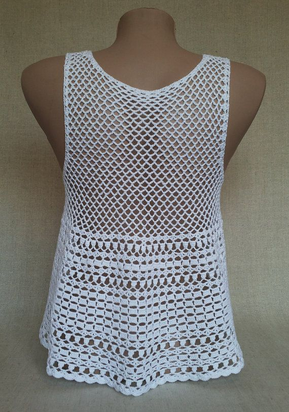 White crochet top Crochet top women Crochet beach cover up Bohemian ...