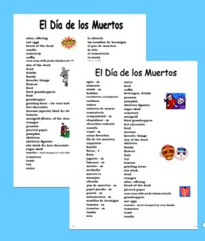 Spanish Day of the Dead Vocabulary Reference - Dia de los Muertos ...