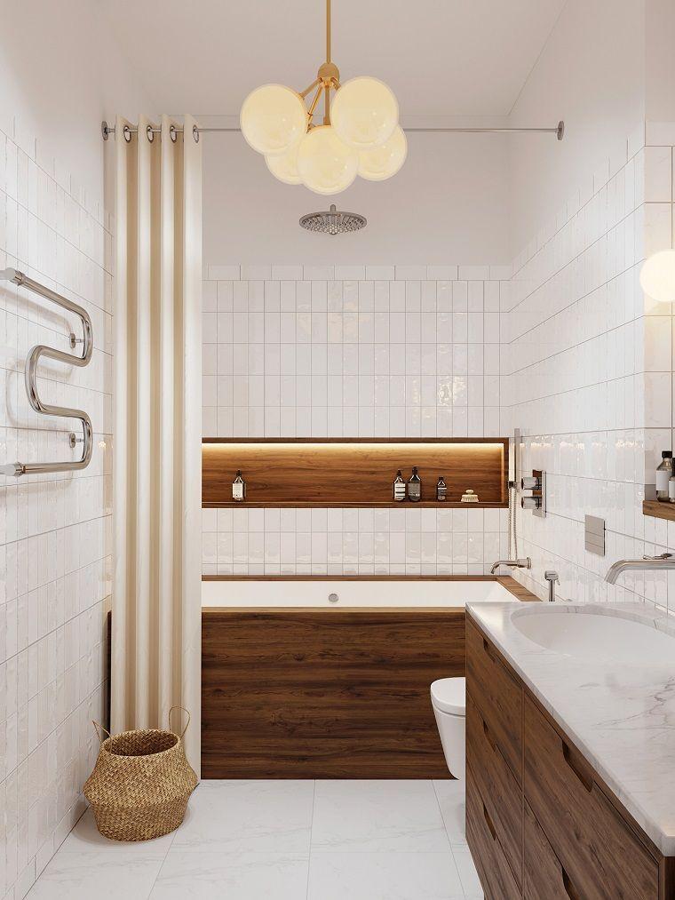 Bagni Moderni In Marmo.Arredo Bagno Moderno Mobile Di Legno Con Superficie Di Marmo