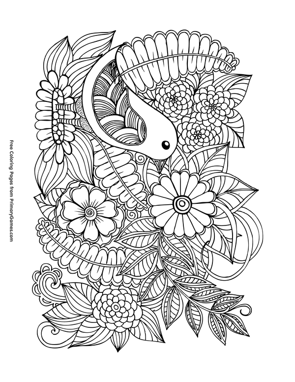Spring Coloring Pages eBook: Bird with Flowers | Mandala ...