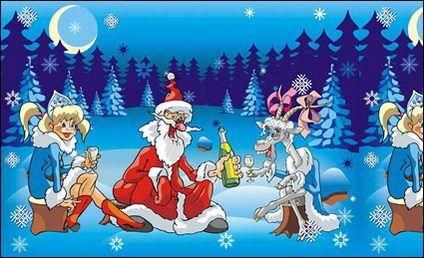 Crazy Santa Claus vector