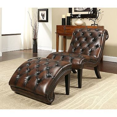 Patrick Leather Chaise Lounge Chair and Ottoman - Sam's ...