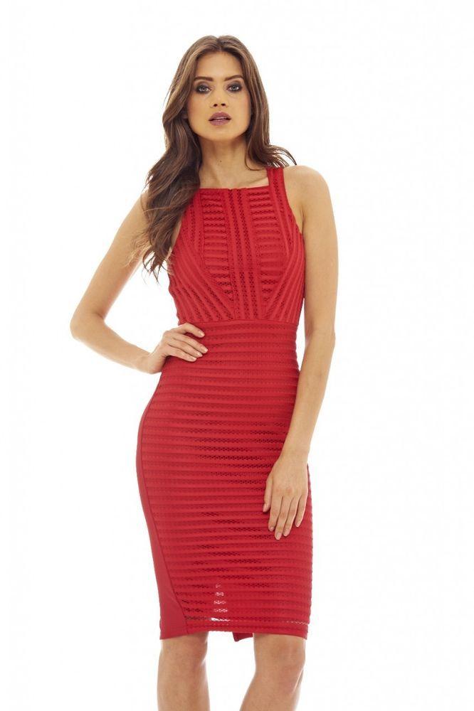 9204e51e4a8 AX Paris Womens Red Ladder Detail Bodycon Midi Dress Stylish Ladies Fashion