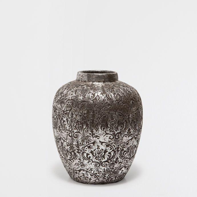 Vase Terre Cuite Argente Vases Decoration Zara Home Maroc