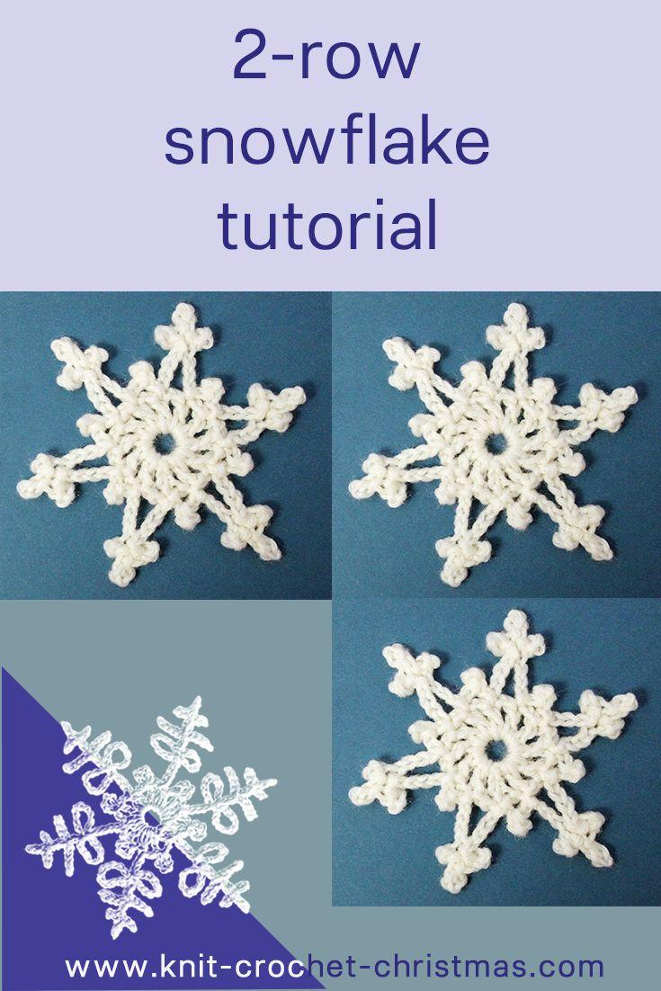 Easy 2 Row Crochet Snowflake Knit Crochet Christmas Crochet Snowflake Pattern Christmas Crochet Patterns Crochet Christmas Snowflakes