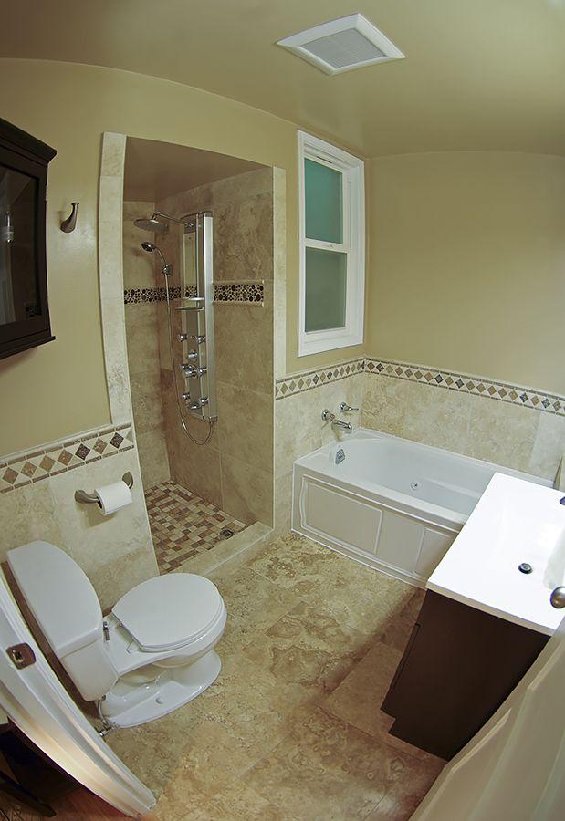 Travertine Tile Bathroom Remodel In Sunset District, San Francisco