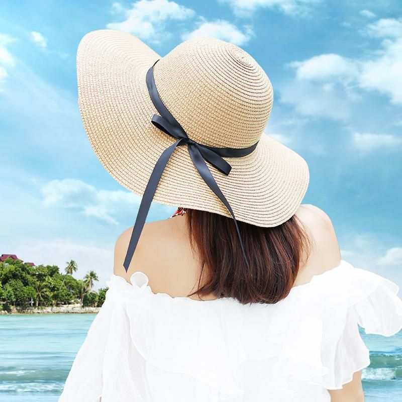 90s Wide Brim Straw Hat Ladies