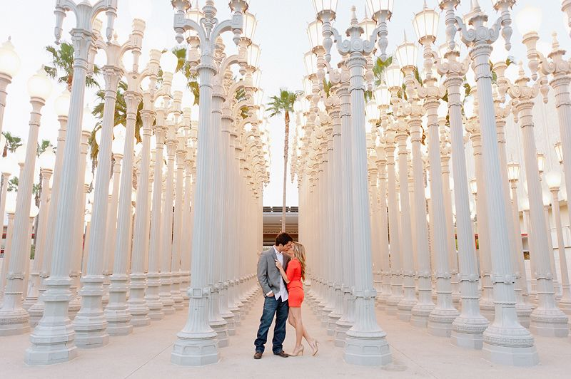 Mike Arick Photography   Engagement Photography   LACMA Urban Light Lamposts