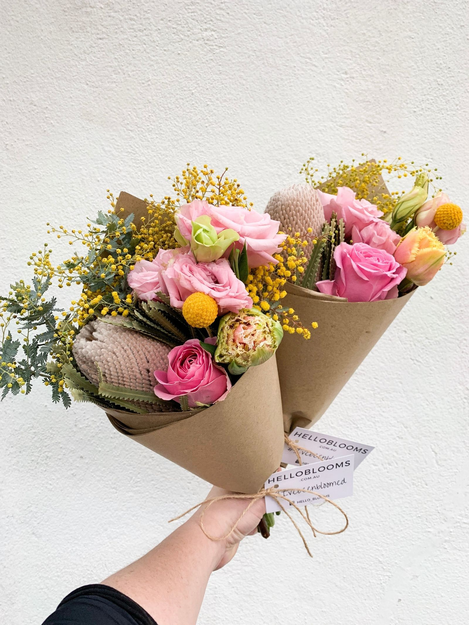 Our Gorgeous Daily Bunch Includes Fluffy Wattle Roses Fantastic Frilled Tulips Banksia Preserved Billy Button With Images Flower Delivery Floral Bouquets Billy Buttons