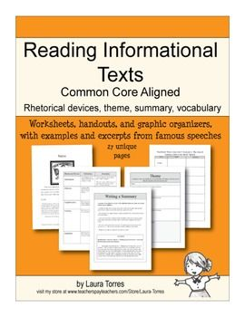 All Worksheets informational text worksheets high school : Reading Informational Text - Common Core Aligned | The o'jays ...