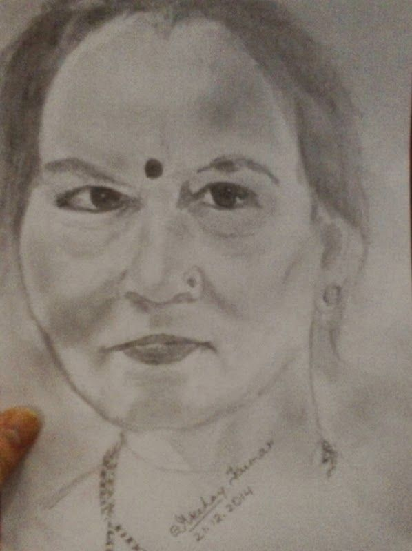 Indian woman pencil drawing by artist akshay kumar