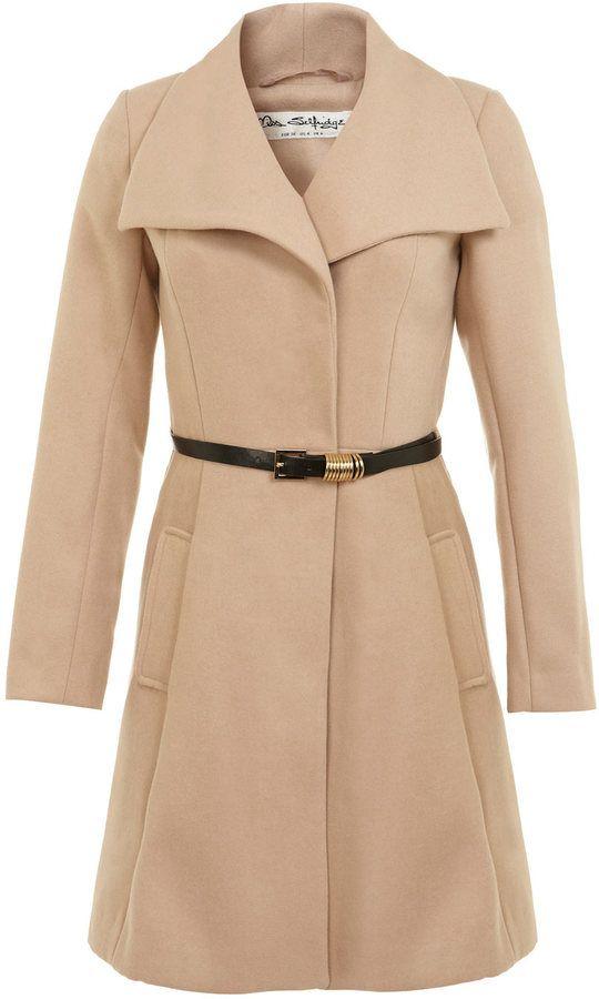Manteau effet drapé avec ceinture