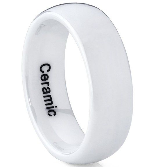 Ultimate Metals Co. White Dome Ceramic Men's Women's Unisex Wedding Band Engagment Ring 7mm YTWure