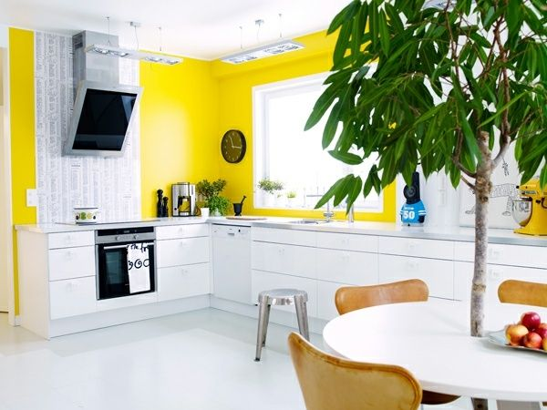 Beautiful Cuisine Blanche Mur Jaune Contemporary - lalawgroup.us ...