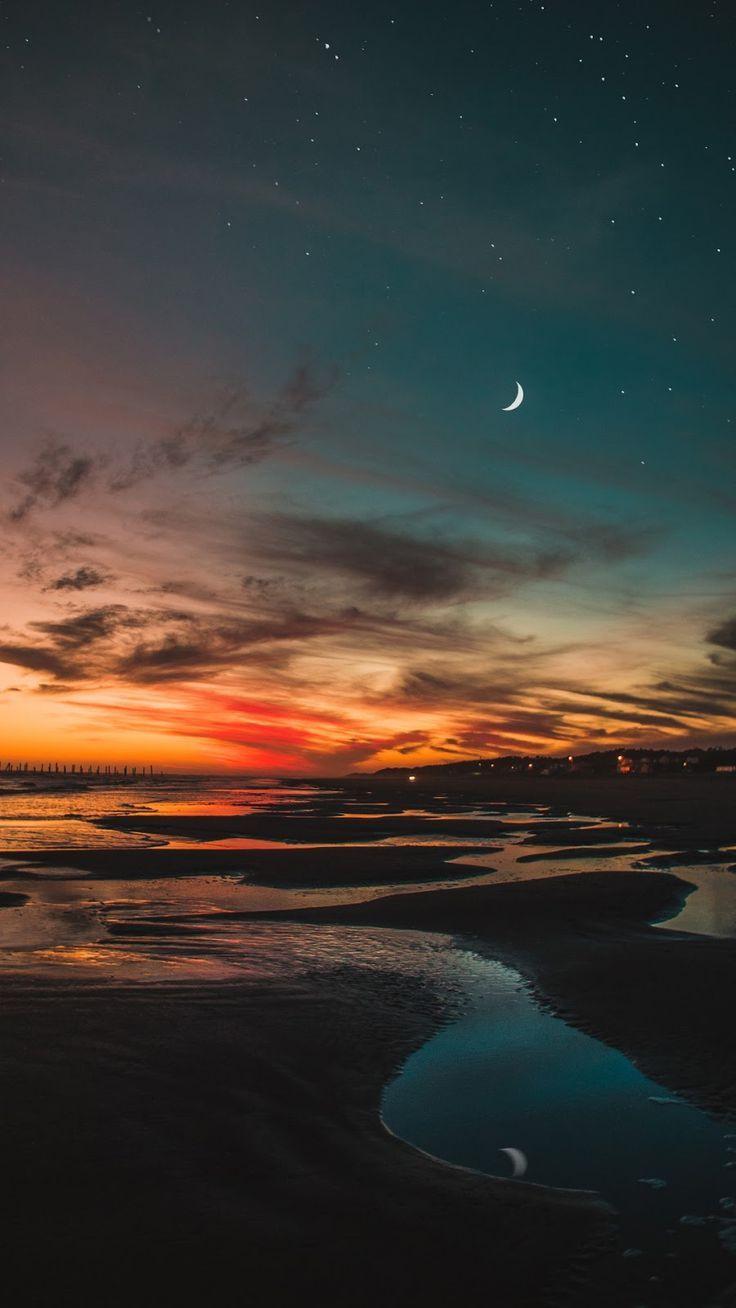 Beach In The Night Night Sky Wallpaper Sunset Wallpaper Beach Wallpaper
