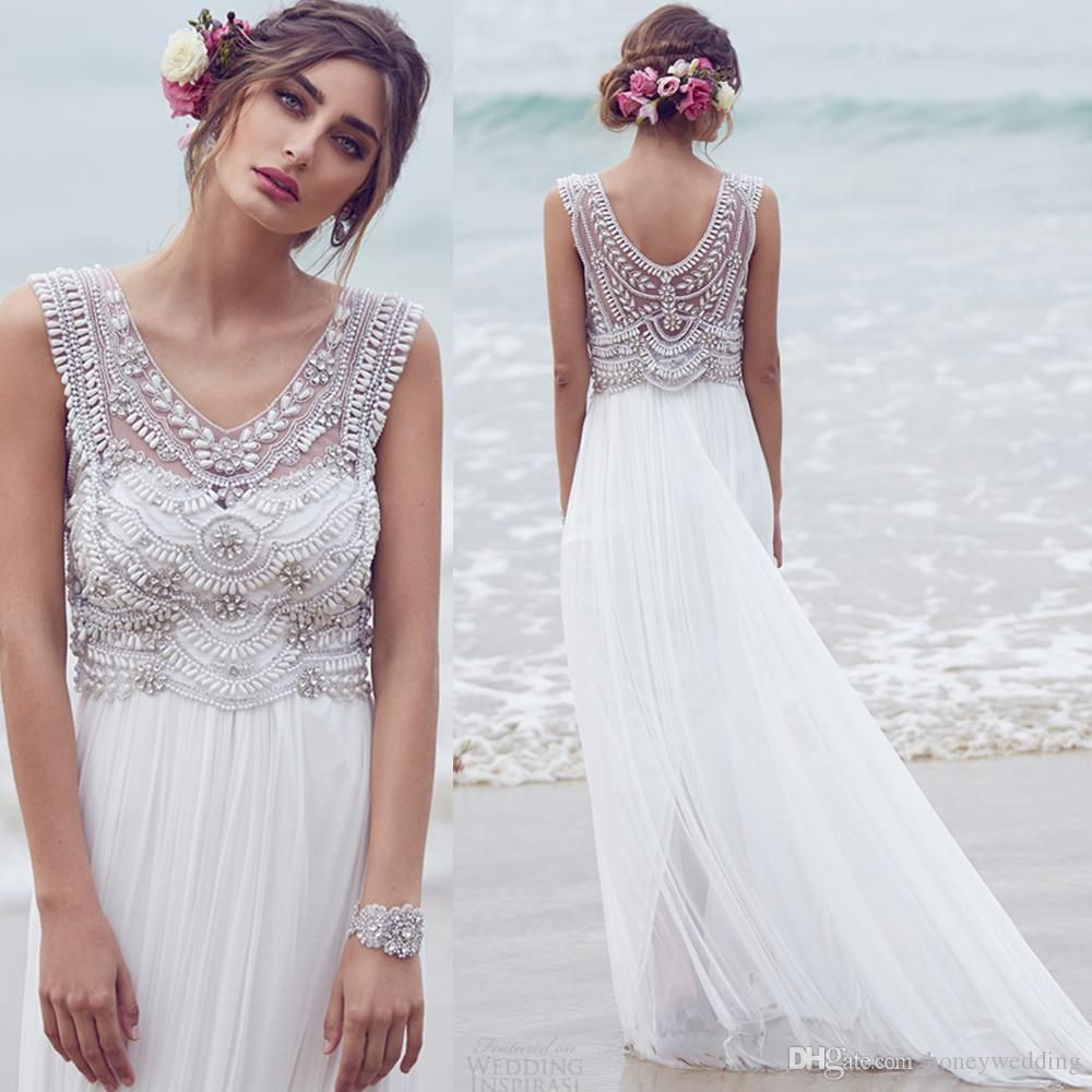 Bridal Gowns Anna Campbell Maternity Wedding Dresses 2015 Plus Size Bohemian Chiffon Beach V Neck Crystals Beaded Empire Boho Dress Weddings
