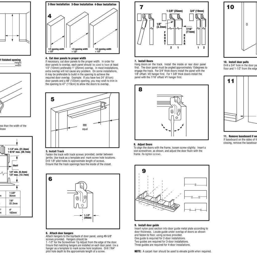 Exterior door measuring guide sliding closet doors